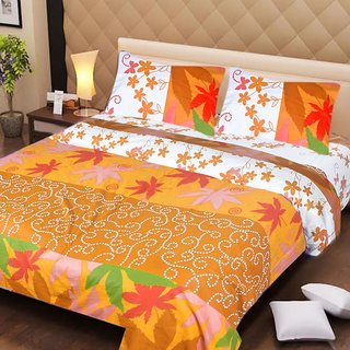 Akash Ganga Multi-Colour Cotton Double Bedsheet with 2 Pillow Covers (AG1269)