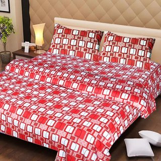 Akash Ganga Red Cotton Double Bedsheet with 2 Pillow Covers (AG1270)