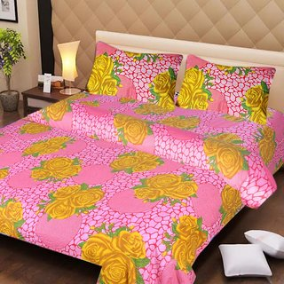 Akash Ganga Pink Cotton Double Bedsheet with 2 Pillow Covers (AG1271)