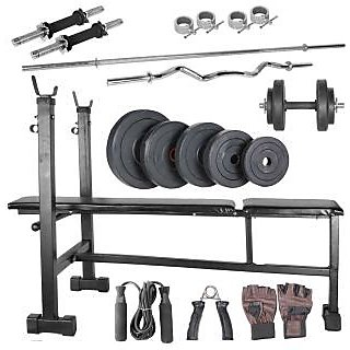 Body Maxx 30 kg home gym, 14 inch dumbells rod, 2rods,3 in 1 (i/d/f) bench