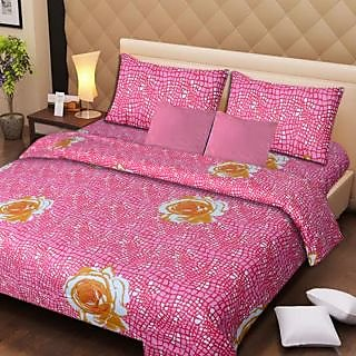 Akash Ganga Pink Cotton Double Bedsheet with 2 Pillow Covers (AG1279)