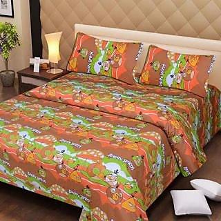 Akash Ganga Brown Cotton Double Bedsheet with 2 Pillow Covers (AG1283)