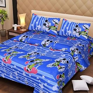Akash Ganga Blue Cotton Double Bedsheet with 2 Pillow Covers (AG1285)