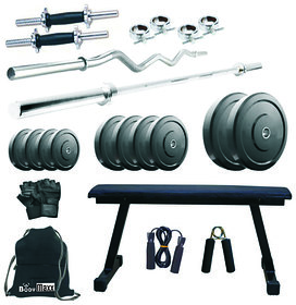 Body Maxx 80 kg home gym, 14 inch dumbells rod, 2 rods, flat bench, accessories