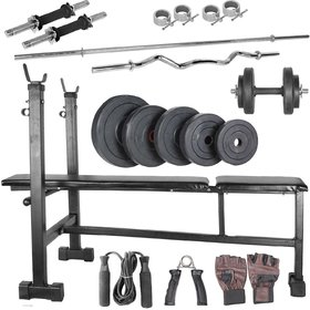 Body Maxx 105 kg home gym, 14 inch dumbells rod, 2rods,3 in 1 (i/d/f) bench
