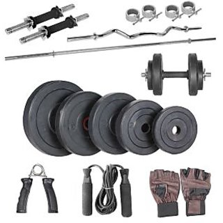 BODY MAXX 10 kg home gym, 14 inch dumbells rod+1 plain rod+1 curl+accessories