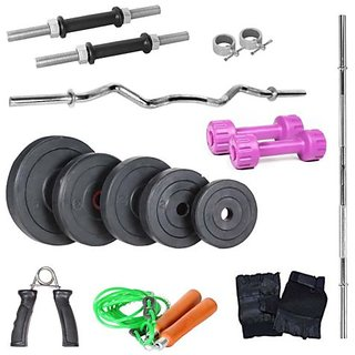 Body Maxx 22 kg home gym+3 feet plain rod+1 curl rod+dumbells rod+pvc dumbells + gloves + gripper + rope