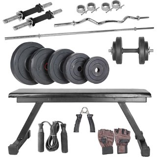 BODY MAXX 42 kg home gym, 14 inch dumbells rod, 2 rods, flat bench, accessories