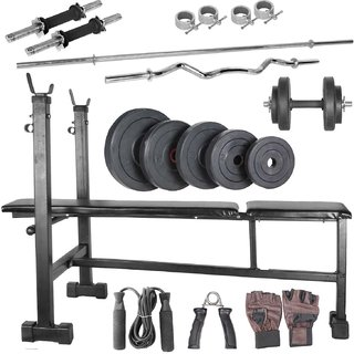 Body Maxx 100 kg home gym, 14 inch dumbells rod, 2rods,3 in 1 (i/d/f) bench,