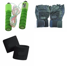 SKIPPING ROPE WITH METER + GYM GLOVES WITH WRIST SUPPORT + WRIST BANDS  COMBO PACK