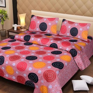 Akash Ganga Pink Cotton Double Bedsheet with 2 Pillow Covers (AG1288)