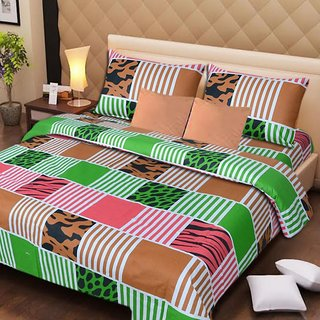 Akash Ganga Multi-Colour Cotton Double Bedsheet with 2 Pillow Covers (AG1289)