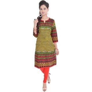 Vihaan Impex Indian Instyle Green Jaipuri Cotton Kurti