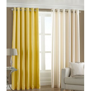 Fabbig Yellow And Cream Crushed Door Curtain (Set of 2)