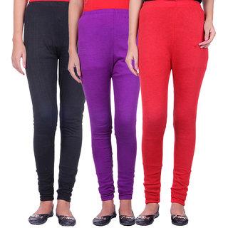 Belmarsh Woolen Lycra Legging - Pack of 3 (Black Purple Red)