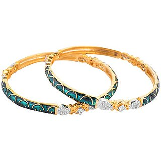 Perfection Golden alloy Metal Bangles for Women (S23/GREEN)