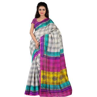 Florence White  Pink Bhagalpuri Silk Printed Saree (Fl-10774)