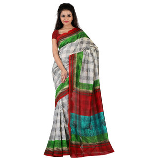 Florence White  Red Bhagalpuri Silk Printed Saree (Fl-10773)