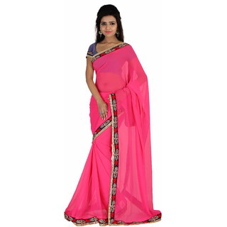 c9d82987b49d1f Buy florence clothing company Pink Chiffon Plain Saree Without ...