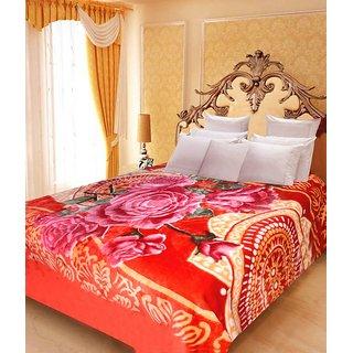 Akash Ganga Floral Double Bed Mink Blanket (BD35)