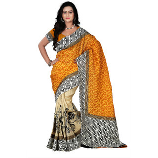 florence clothing company White Silk Printed Saree Without Blouse