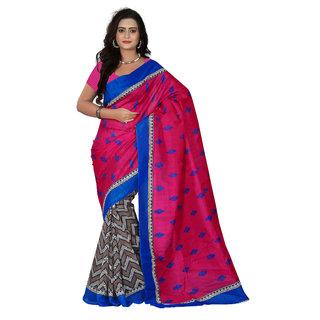 Florence Pink Bhagalpuri Silk Printed Saree (Fl-10887)