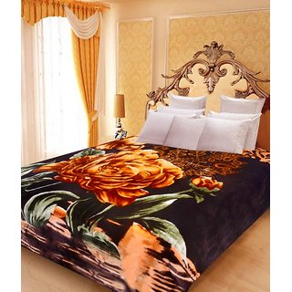 Akash Ganga Floral Double Bed Mink Blanket (BD36)