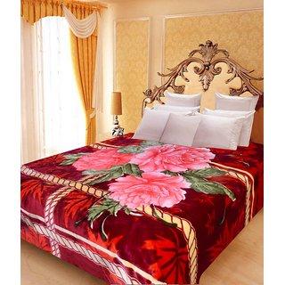 Akash Ganga Floral Double Bed Mink Blanket (BD39)