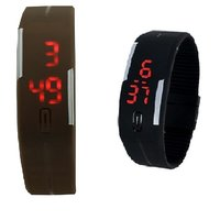 Combo Of Two Band Watches For Men Black  Brown