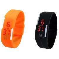 Combo Of Two Band Watches For Men Black  Orange
