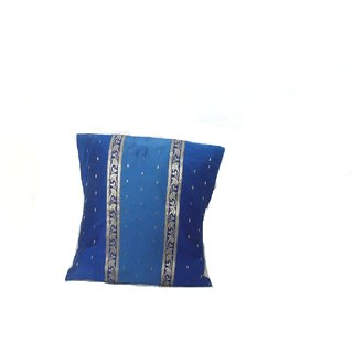 BC International Blue Silk Cotton Cushion Cover