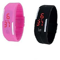 Combo Of Two Band Watches For Men Black  Pink