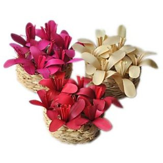 House Nature Flower Filled Baskets -  set of three