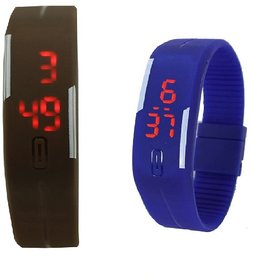 Combo Of Two Band Watches For Men Blue  Brown