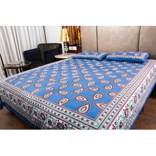 Pure Cotton Blue Color Leaf Design Sanganeri Print Double Bedsheet