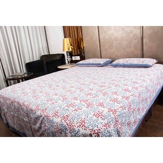 Pure Cotton Red And Grey Color Flower Design Sanganeri Print Double Bedsheet