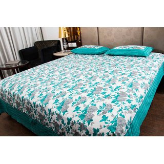Pure Cotton Grey And Sea Green Color Floral Sanganeri Print Double Bedsheet