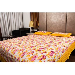 Pure Cotton Yellow And Pink Color Floral Sanganeri Print Double Bedsheet