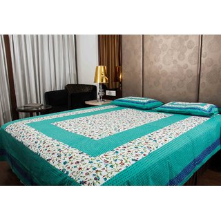 Pure Cotton Green And White Leaf Design Sanganeri Print Double Bedsheet