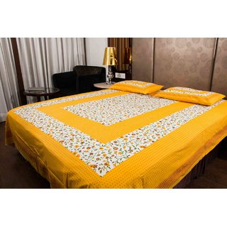 Pure Cotton Yellow And White Leaf Design Sanganeri Print Double Bedsheet