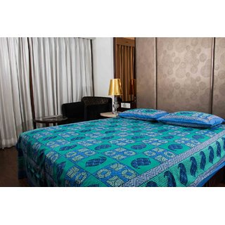 Pure Cotton Multicolor Printed New Sanganeri Print Double Bedsheet