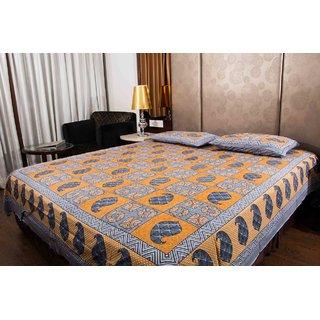 Pure Cotton Multicolor Check Print Sanganeri Print Double Bedsheet