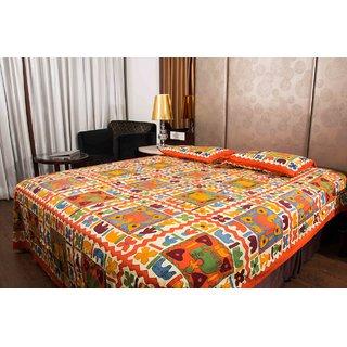 Pure Cotton Multicolor Elephant Design Sanganeri Print Double Bedsheet