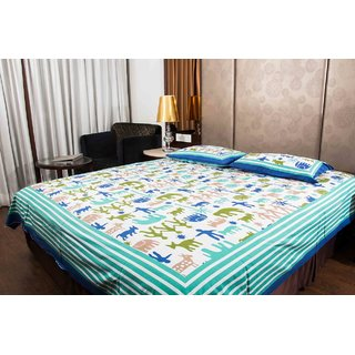 Pure Cotton Multicolor Printed Sanganeri Print Double Bedsheet