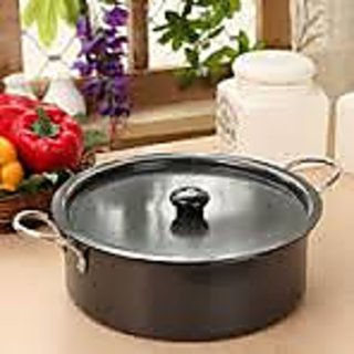 Dailyware Hard Anodized Saute Pan,3.5 Ltr.,With Anodized Lid  SS Handles,Black
