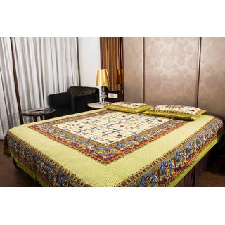 Pure Cotton Multicolor Sanganeri Print Double Bedsheet
