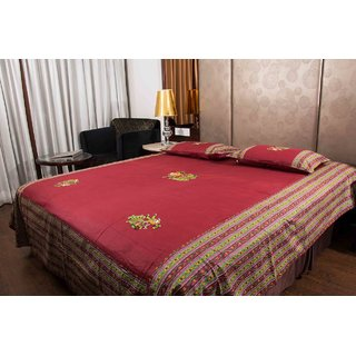 Pure Cotton Maroon Color Patch Work Sanganeri Double Bedsheet
