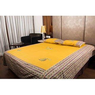 Pure Cotton Camel Color Camel Patch Work Sanganeri Double Bedsheet