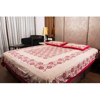 Pure Cotton Multicolor Sanganeri Design Print Double Bedsheet