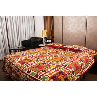 Pure Cotton Multicolor Jaipuri Sanganer Design Print Double Bedsheet